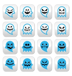 Halloween scary ghost spirit buttons set vector image vector image