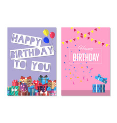 happy birthday to you greeting card design set vector image vector image
