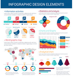 infographic design elements with map graph chart vector image