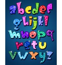 lower case sparkling alphabet vector image