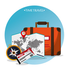 time travel brochure tourism vector image vector image