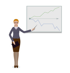 business woman standing with progress chart graph vector image