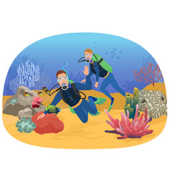 the people swimming in vector image