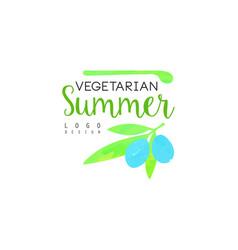 vegetarian summer logo design element for healthy vector image vector image