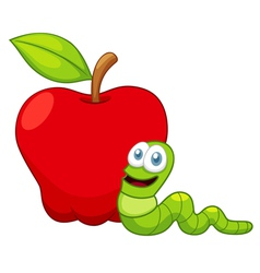 Apple and worm vector image vector image