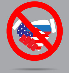 Ban sign cooperation usa and russia vector image vector image