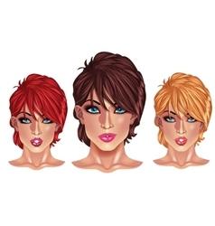 Beautiful girls with short haircuts vector image