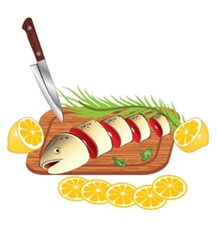 cooking and cutting fresh fish vector image