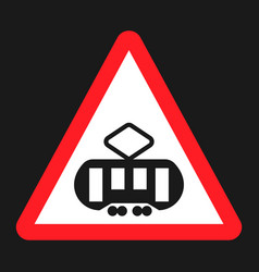 crossing with a tram sign line flat icon vector image vector image
