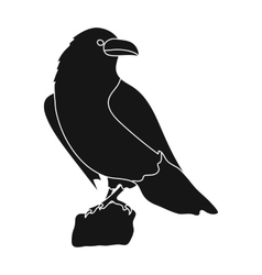 Crow of viking god icon in black style isolated on vector image