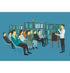 People sit in a room and listen speech speaker vector image vector image