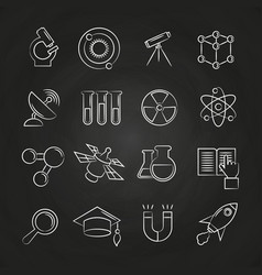 science line icons set on chalkboard vector image vector image