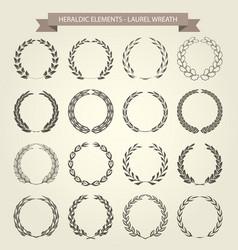 set of laurel wreaths in heraldic style vector image vector image