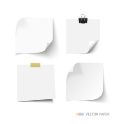 Set of post it paper sheets Realistic vector image vector image
