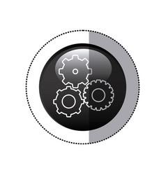 sticker black circular frame with pinions set icon vector image vector image