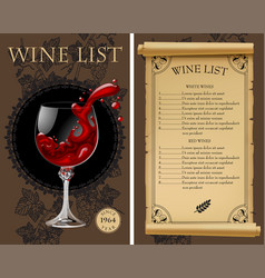 wine list with old parchment grapes bottle and vector image vector image