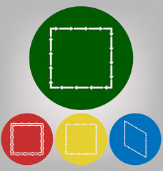 arrow on a square shape 4 white styles of vector image vector image