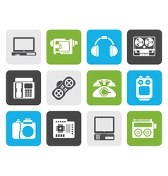 Flat electronics media and technical equipment vector image