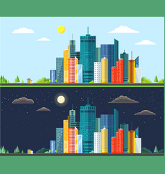 flat style modern design of day and night urban vector image