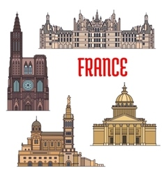 French travel sights icon in thin line style vector image vector image