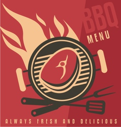 Grill cover menu template vector image vector image