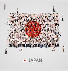 large group of people in the japan flag shape vector image vector image
