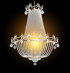 A chandelier with crystal pendants on black vector