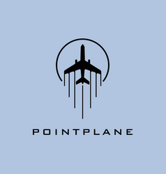 air plane with point shape logo design template vector image