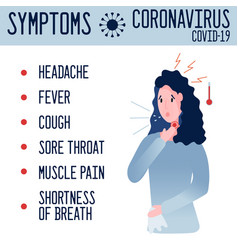 alert banner with symptoms coronavirus vector image
