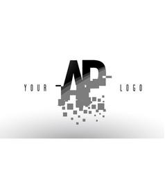 Ap a p pixel letter logo with digital shattered vector