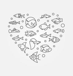 aquarium fish in heart shape aquariumistics vector image