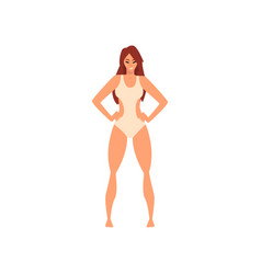 beautiful smiling girl in white swimsuit young vector image