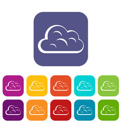 Big cloud icons set flat vector