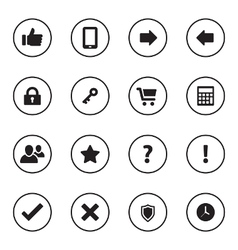 Black flat miscellaneous icon set vector