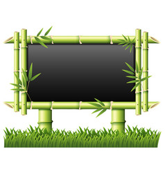 blackboard with bamboo as frame vector image