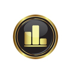 Business graph icon on black with gold button vector
