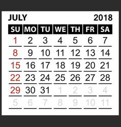 calendar sheet july 2018 vector image