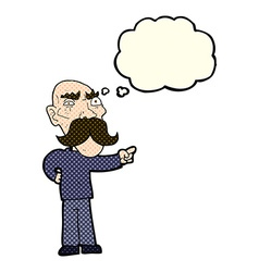 Cartoon annoyed old man pointing with thought vector