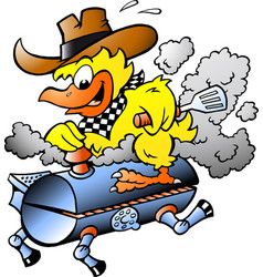 Cartoon of an yellow chicken riding a bbq grill vector