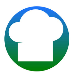 chef cap sign white icon in bluish circle vector image
