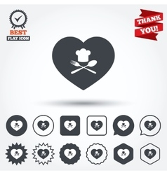 Chef hat sign icon Love Cooking symbol vector image