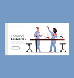 Chemical elements landing page template scientist vector