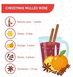 Christmas cocktail Mulled wine recipe with vector image