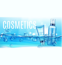 Cosmetics bottles floating in water with ice cubes vector