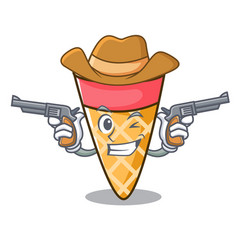 Cowboy ice cream tone character cartoon vector