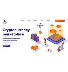 cryptocurrency marketplace isometric landing page vector image