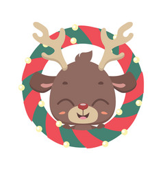 cute reindeer with christmas wreath vector image