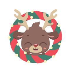 Cute reindeer with christmas wreath vector