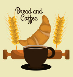 Delicious croissant bread and coffee label vector