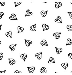 Doodle line art heart pattern vector